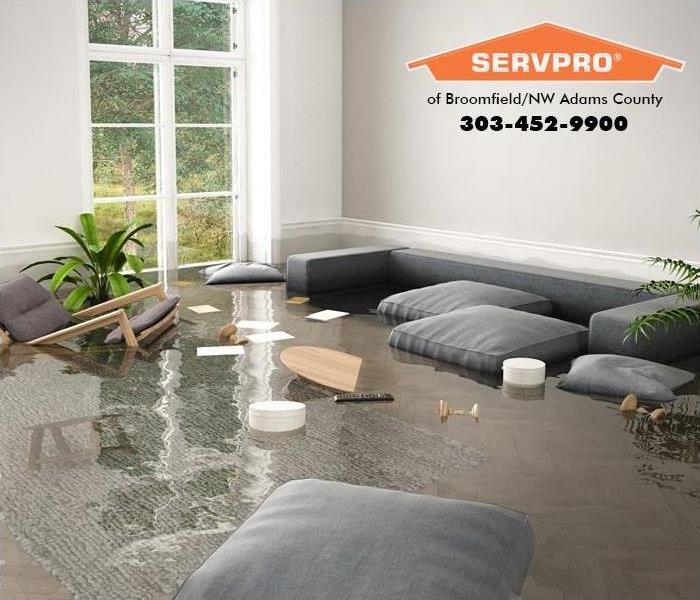 Furniture floating in a flooded living room.